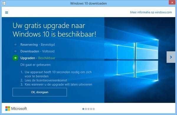 Melding gratis update naar Windows 10 verdwijnt